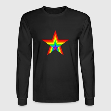 Gay Pride Hypnotic Rainbow Star - Men's Long Sleeve T-Shirt