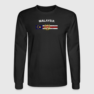 Malaysian Flag Shirt - Malaysian Emblem & Malaysia - Men's Long Sleeve T-Shirt