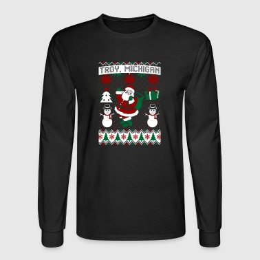 Christmas Ugly Sweater Troy Michigan - Men's Long Sleeve T-Shirt
