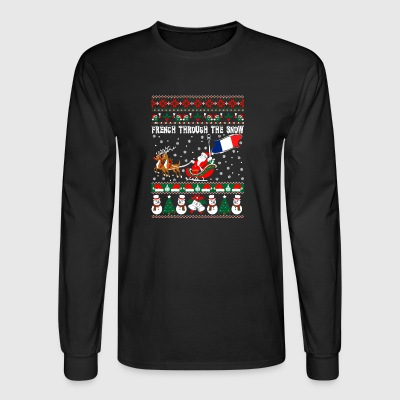 French Through The Snow Ugly Christmas Sweater - Men's Long Sleeve T-Shirt