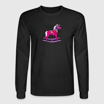 90s unicorn rocking horse retro art - Men's Long Sleeve T-Shirt