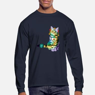 Cat Black Deco Cat Rainbow with lot of Jewelry - Men's Long Sleeve T-Shirt