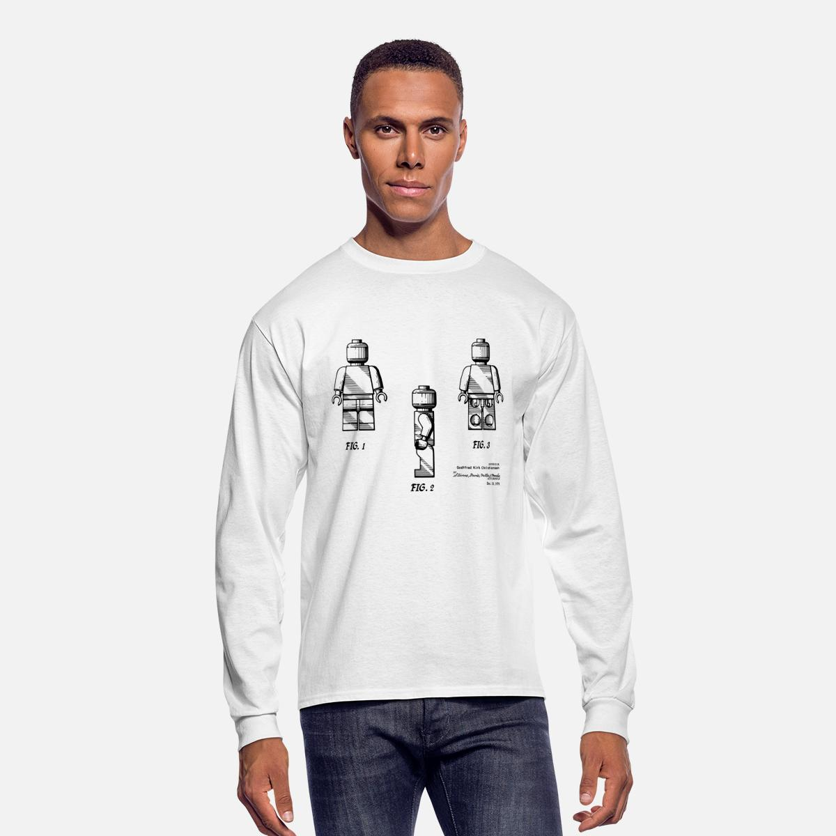 Lego Man Minifgure Patent Drawing Men's Long Sleeve T-Shirt - white