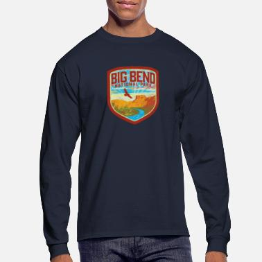Wolves Big Bend National Park Retro Vintage Style Badge - Texas Nature & Outdoors - Men's Long Sleeve T-Shirt