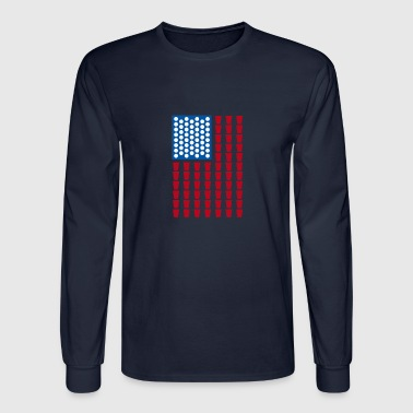 Beerpong American Flag - Men's Long Sleeve T-Shirt