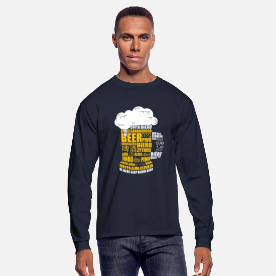Hindi Long-Sleeve Shirts - Multilingual BEER Keg Design Gift for Translators - Men's Longsleeve Shirt navy