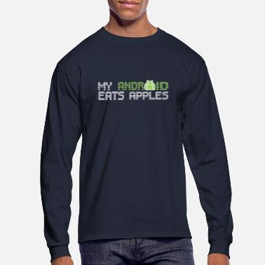 My Android Eats Apples Blue T Shirt - Men's Longsleeve Shirt