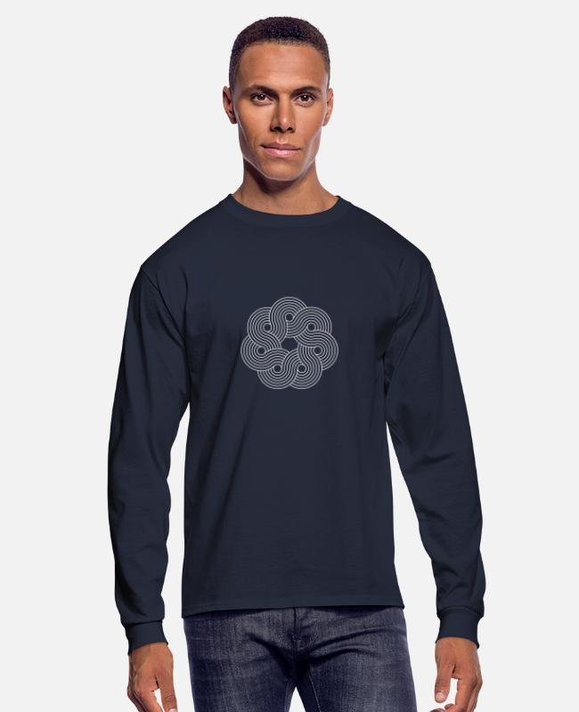 Visualization Long-Sleeved Shirts - Mandala Yoga Optical Illusion Zen Paradoxon Gift - Men's Longsleeve Shirt navy