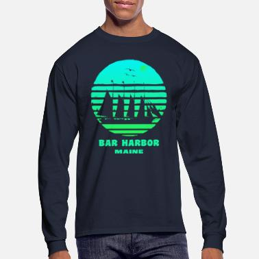 Harbor Bar Harbor Maine Ship Seagulls Souvenir - Men's Longsleeve Shirt