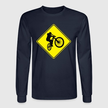 Mountain Biking Street Sign - Men's Long Sleeve T-Shirt
