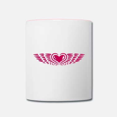Heart With Wings Heart with wings. Winged heart. - Contrast Coffee Mug
