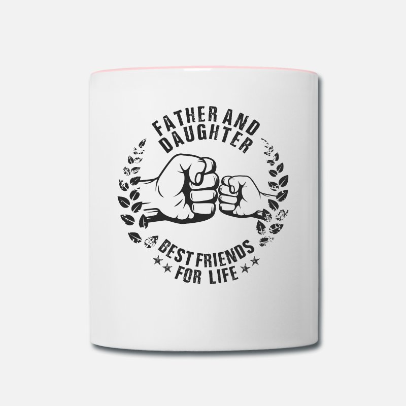 Dad Mugs & Drinkware - FATHER AND DAUGHTER BEST FRIENDS FOR LIFE - Two-Tone Mug white/pink