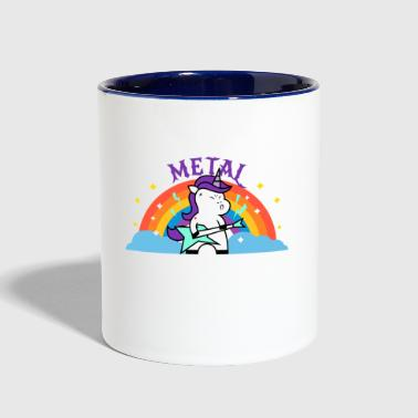METAL RAINBOW BAND FUNNY UNICORN IRONIC - Contrast Coffee Mug