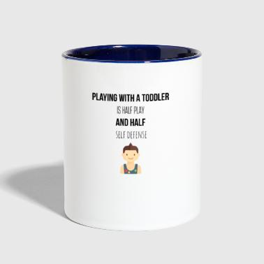 Playing with a toddler - Contrast Coffee Mug