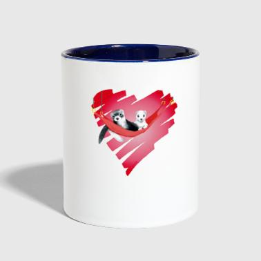 2 Ferrets heart - Contrast Coffee Mug