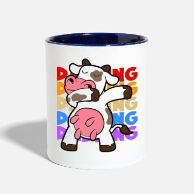 Milk Retro Vintage Pop Art Style Dabbing Dab Cow - Two-Tone Mug