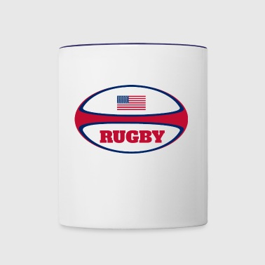 American Flag Rugby Ball - Contrast Coffee Mug