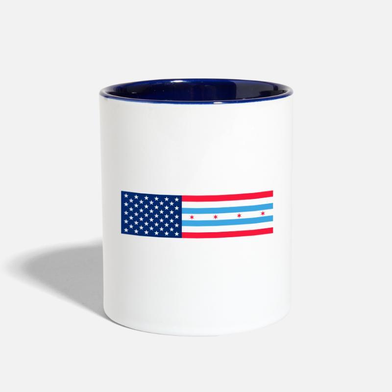 Marathon Mugs Drinkware Usa Chicago Flag Two Tone Mug White Cobalt