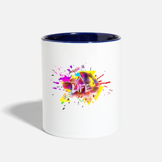 Voice Mugs & Drinkware - Music is life - Two-Tone Mug white/cobalt blue