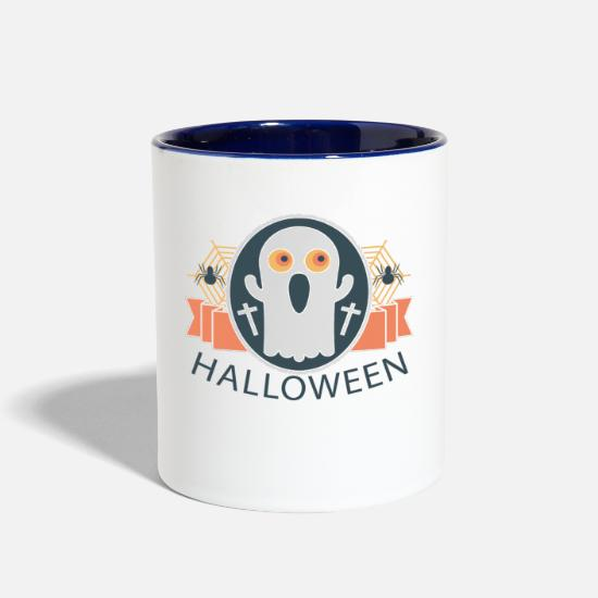 Area Code Mugs & Drinkware - Halloween-Great story - Two-Tone Mug white/cobalt blue
