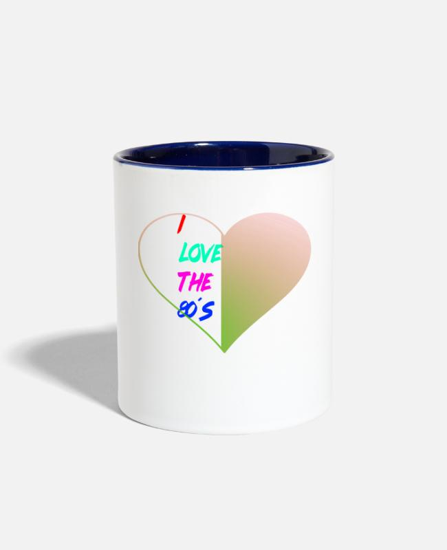Love With Heart Mugs & Cups - I Love The Eighties - Two-Tone Mug white/cobalt blue