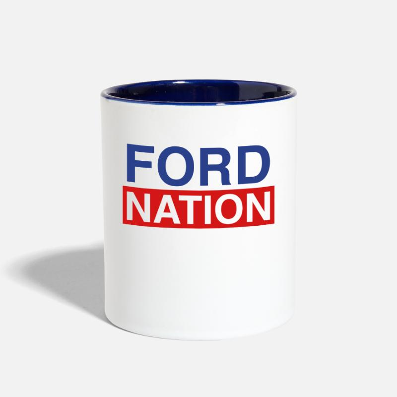Ford Mugs & Drinkware - Ford for Mayor; Ford Nation - Two-Tone Mug white/cobalt blue