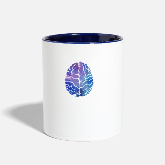 Brain Mugs & Drinkware - brain - Two-Tone Mug white/cobalt blue