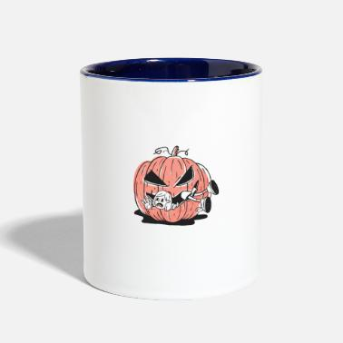 Aggressive pumpkin eating girl - Two-Tone Mug