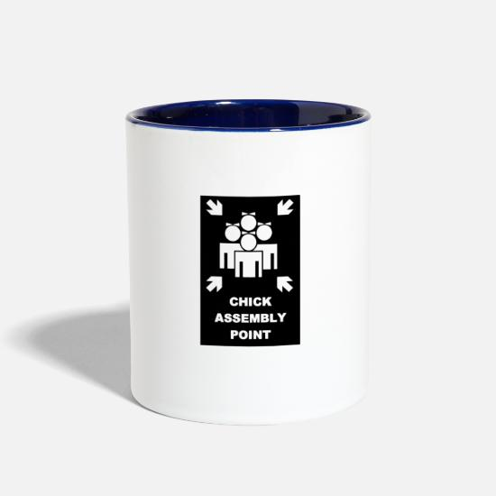 New World Order Mugs & Drinkware - Chick Assembly Point New - Two-Tone Mug white/cobalt blue