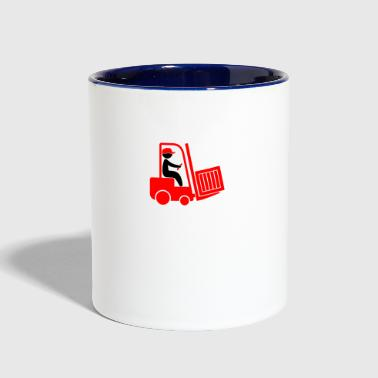 A Forklift Transporting A Box - Contrast Coffee Mug