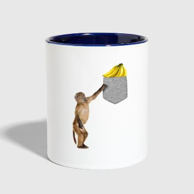 Monkey Reaching For Banana In Fake Pocket Animal - Contrast Coffee Mug