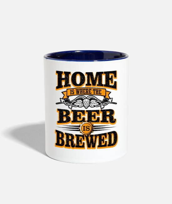 Brewery Mugs & Cups - For Craft Beer Lovers who Brew Their Beer at Home Light - Two-Tone Mug white/cobalt blue