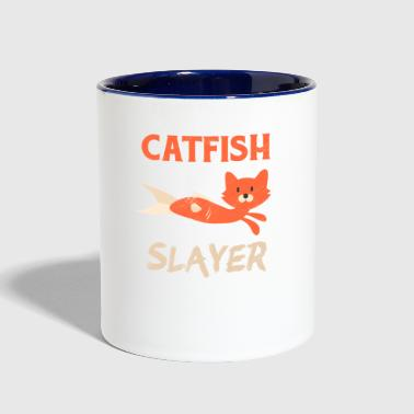 Catfish Fishing Cat Head Fish Body Fisherman - Contrast Coffee Mug