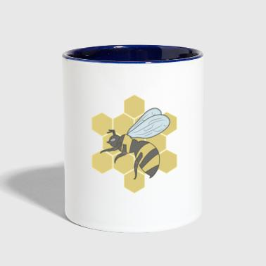Bee in honeycomb - Contrast Coffee Mug