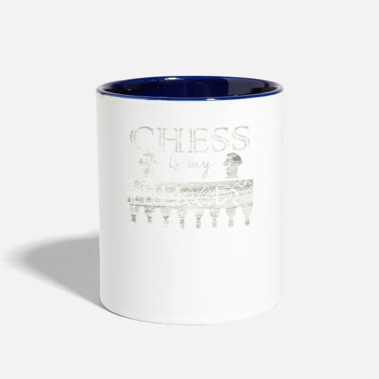 Chess Mugs & Drinkware - CHESS PLAYER CHESS IS MY THERAPY CHESS SAYING GIFT - Two-Tone Mug white/cobalt blue