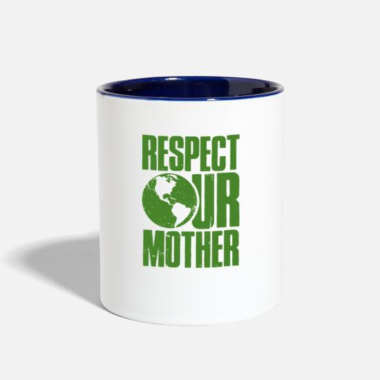 Friendly Mugs & Drinkware - Respect Our Mother - Mother Nature - Total Basics - Two-Tone Mug white/cobalt blue