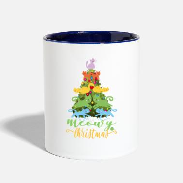 Pillow Cat Lover Merry Meowy Christmas Tree Cat Holiday Gift - Contrast Coffee Mug