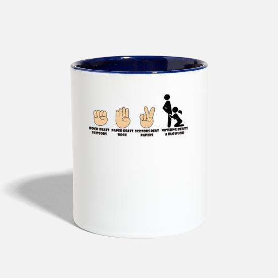 Humor Mugs & Drinkware - Adult Humor Novelty Graphic Sarcasm Funny T Shirt Nothing beats a blowjob - Two-Tone Mug white/cobalt blue