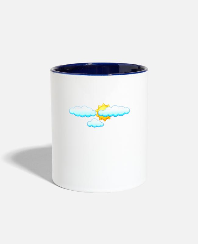 Weather Mugs & Cups - Weather Cirrus About Weather Meteorology - Two-Tone Mug white/cobalt blue