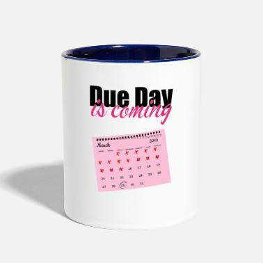 Date Of Birth Pregnancy due date birth gift - Two-Tone Mug
