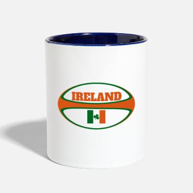 Ireland Ireland Flag Rugby Ball - Two-Tone Mug