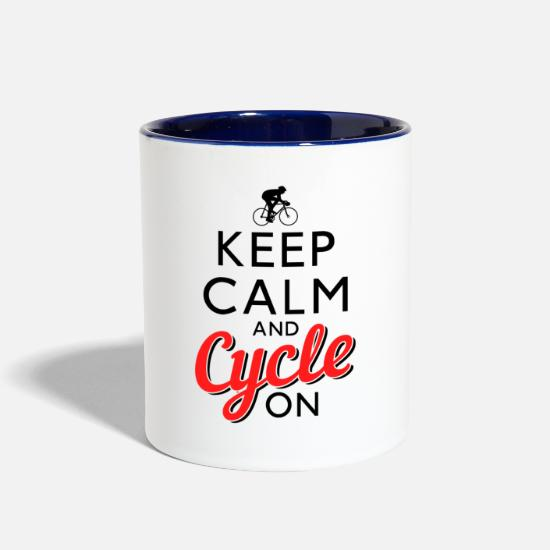 Lover Mugs & Drinkware - Keep Calm And Cycle On - Two-Tone Mug white/cobalt blue