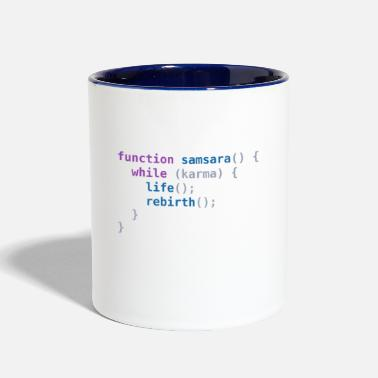 Samsara Funny T-Shirt: Samsara in JavaScript | Programmer - Two-Tone Mug