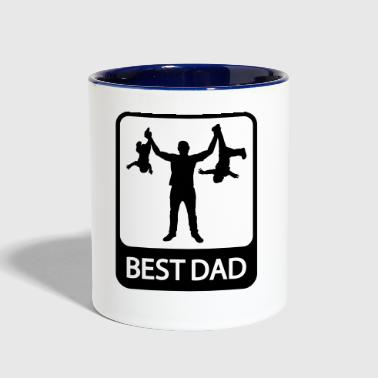 Best Dad - Funny Silhouette of Father and Children - Contrast Coffee Mug