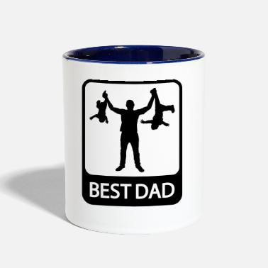 Fathers Day Best Dad - Funny Silhouette of Father and Children - Contrast Coffee Mug