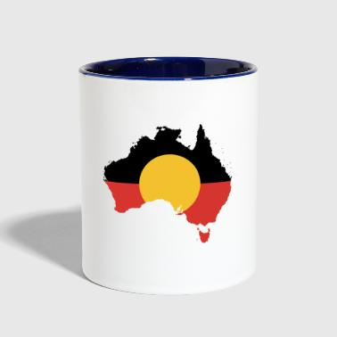 Australian Aboriginal Flag on Australian Map - Contrast Coffee Mug