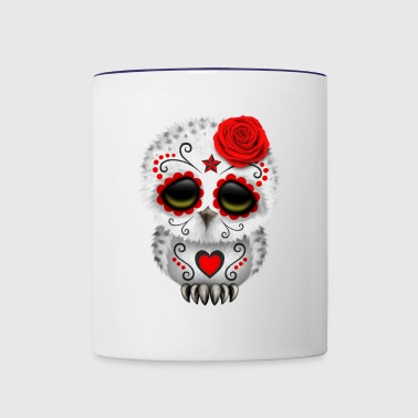 Red Sugar Skull Owl - Contrast Coffee Mug