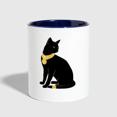 BLACK CAT WITH GOLD JEWELRY - Contrast Coffee Mug