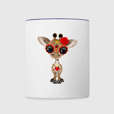 Red Sugar Skull Giraffe - Contrast Coffee Mug