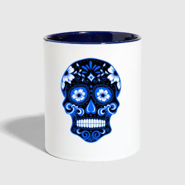 Decorative black skull, light blue - Contrast Coffee Mug